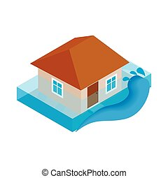 House sinking in water icon, isometric 3d style