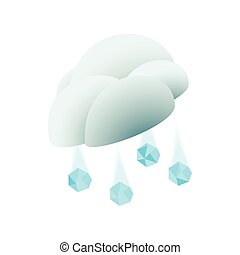 Cloud with hail icon, isometric 3d style
