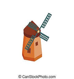 Windmill icon, isometric 3d style