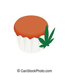 Cake with marijuana leaf icon, isometric 3d style