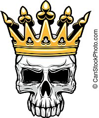 King skull in royal gold crown