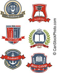 University, college and academy emblems - Education heraldic...