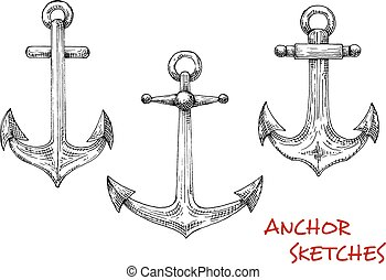 Vintage isolated admiralty anchors sketches - Vintage marine...