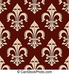 Royal fleur-de-lis brown seamless pattern