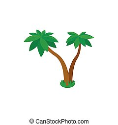 Two palm tropical trees icon, isometric 3d style