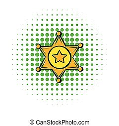 Golden sheriff star badge icon, comics style