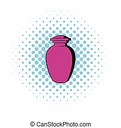 Urn for ashes icon, comics style - Urn for ashes icon in...