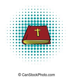 Bible book icon, comics style - Bible book icon in comics...