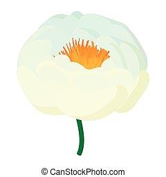 White flower icon, cartoon style