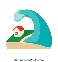 Big wave of tsunami over the house icon