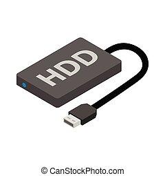 Hard disk drive icon, cartoon style - Hard disk drive icon...