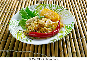 Ackee and saltfish. traditional Jamaican dish.Jamaican...