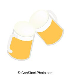 Two mugs of beer icon, isometric 3d style - Two mugs of beer...