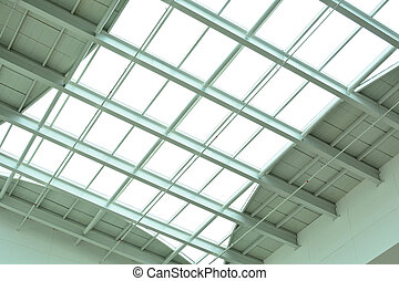 modern glass ceiling of office center