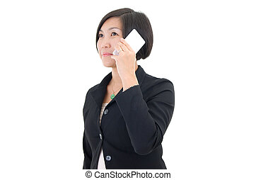 Asian business woman - On the phone. Asian business woman on...