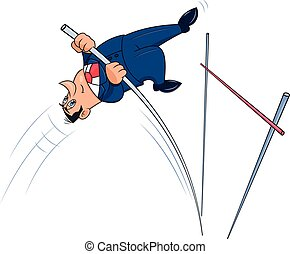 Businessman doing the pole vault 2 - Illustration of the...