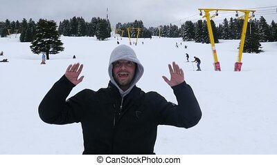 """happy man snow ball headshot, uludag, bursa, turkey"""