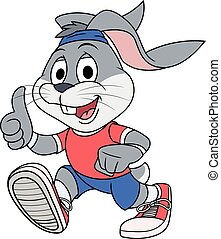 Smiling rabbit jogging - Illustration of the smiling rabbit...