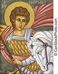 Saint George - Original Hand painted icon in Byzantine style...