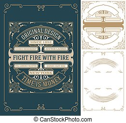 Old card design with elements by layers Vector