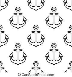 Retro seamless pattern with ship anchors - Black and white...