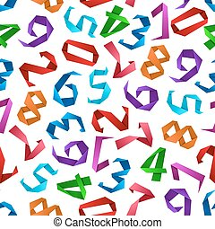 Colorful origami numbers seamless pattern