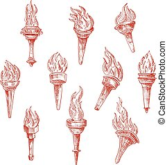 Ancient flaming torches red sketches