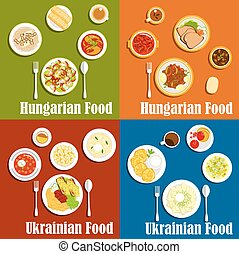Hungarian and ukrainian national cuisine - Popular dishes of...