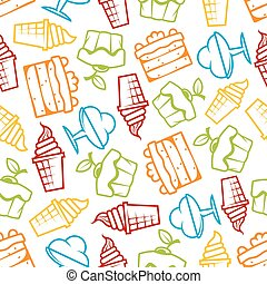 Cakes and ice cream seamless pattern - Cupcakes and ice...