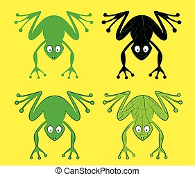 cartoon frog silhouette vector illustration