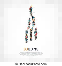 building people symbol - Isometric set of styles, building ,...