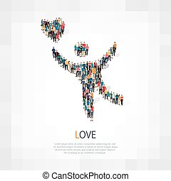 love people crowd - Isometric set of love , web infographics...