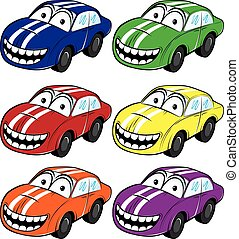 smiling cartoon car with stripes on the hood vector...