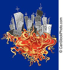 cartoon city organic fire element background vector...