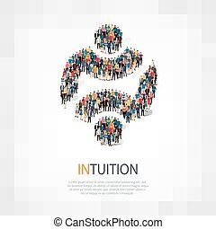 intuition people symbol - Isometric set of styles, intuition...