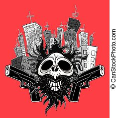 smiling skull glock city buildings - smiling skull glock...