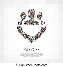 purpose people symbol - Isometric set of styles, purpose ,...