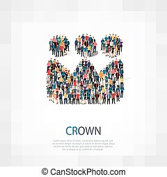 crown people symbol - Isometric set of styles, crown , web...