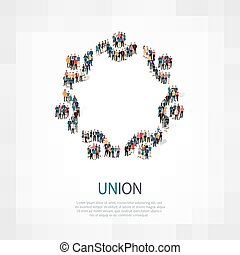 union people symbol - Isometric set of styles, union , web...