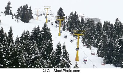 """Winter Sport Center, Cableway People Ski at montain..."