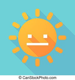 Long shadow sun with a emotionless text face - Illustration...