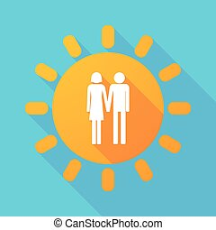 Long shadow sun with a heterosexual couple pictogram -...