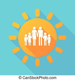 Long shadow sun with a large family  pictogram