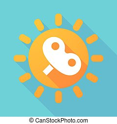 Long shadow sun with a toy crank - Illustration of a long...