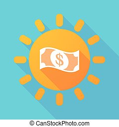 Long shadow sun with a dollar bank note - Illustration of a...