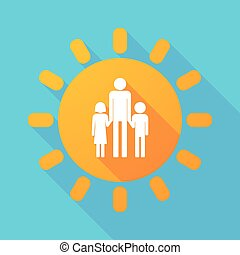 largo, sombra, sol, con, Un, macho, solo, padre, familia,...
