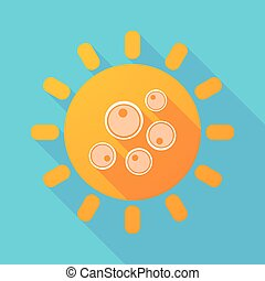 Long shadow sun with oocytes - Illustration of a long shadow...