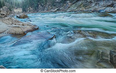 fjäll, flod