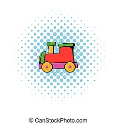 Children locomotive icon, comics style