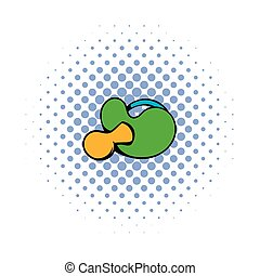 Baby pacifier with green handle icon, comics style